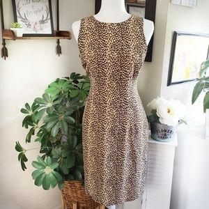 Silk Leapard Print Dress teardrop back
